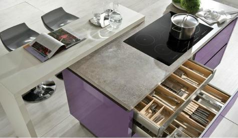 Cuisine moderne violet brilland