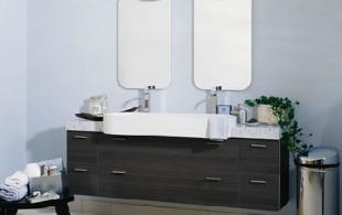 Salle de bain en chêne anthracite